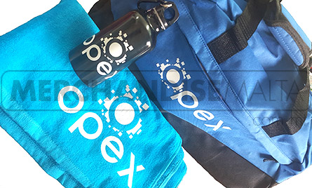 Towel, bottle, bag